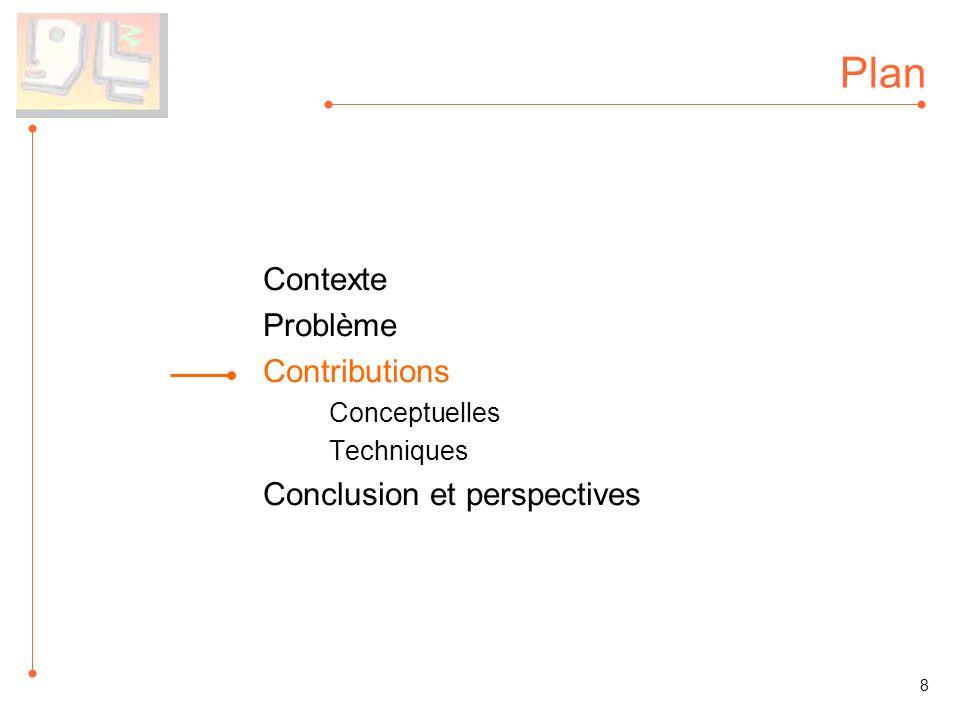 Plan Contexte Problème Contributions Conceptuelles Techniques Conclusion et perspectives 8