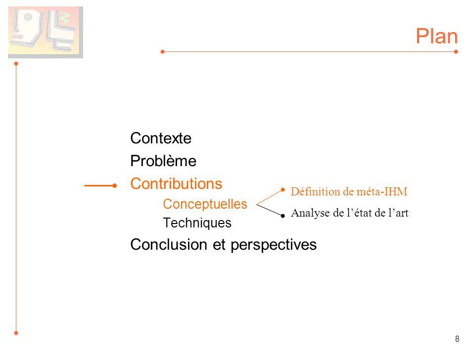 Plan Contexte Problème Contributions Conceptuelles Techniques Conclusion et perspectives Définition de méta-IHM Analyse de létat de lart 8