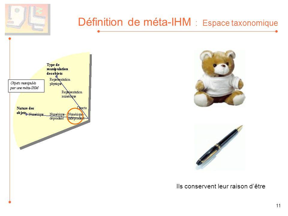Définition de méta-IHM : Espace taxonomique Ils conservent leur raison dêtre 11