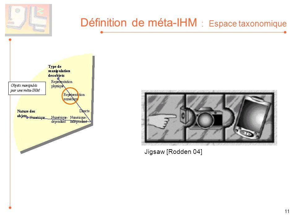 Définition de méta-IHM : Espace taxonomique Jigsaw [Rodden 04] 11