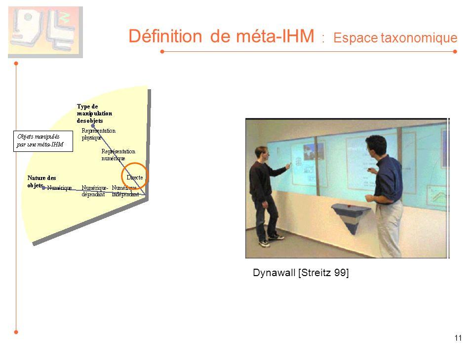 Définition de méta-IHM : Espace taxonomique Dynawall [Streitz 99] 11