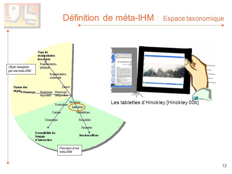 Définition de méta-IHM : Espace taxonomique Les tablettes dHinckley [Hinckley 00b] 12