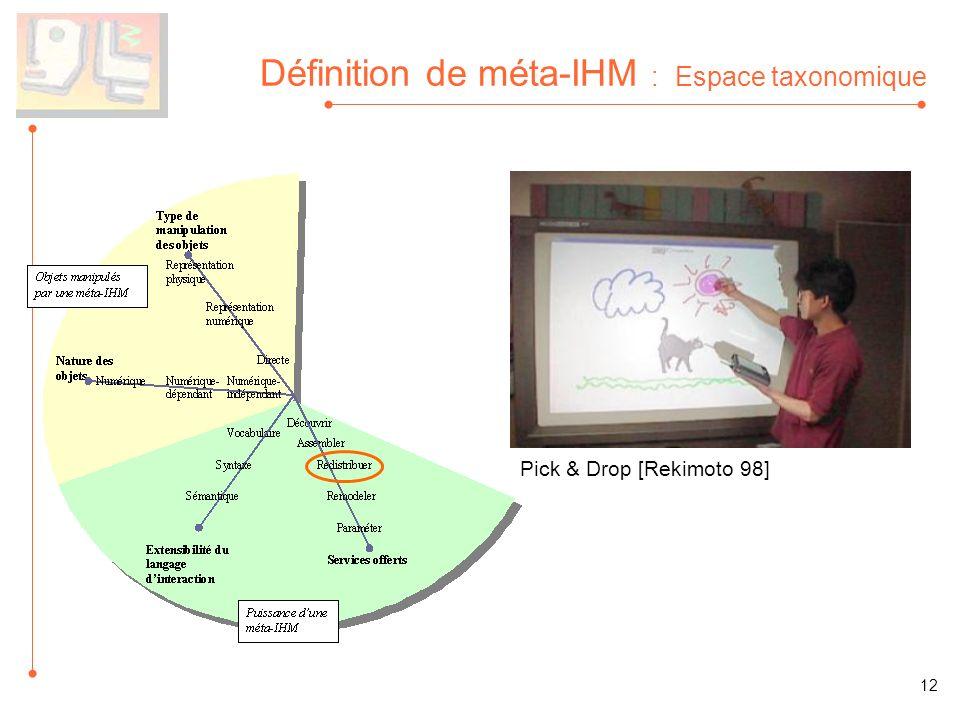 Définition de méta-IHM : Espace taxonomique Pick & Drop [Rekimoto 98] 12