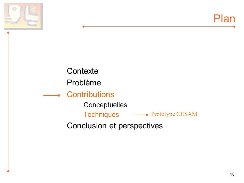 Plan Contexte Problème Contributions Conceptuelles Techniques Conclusion et perspectives 18 Prototype CESAM
