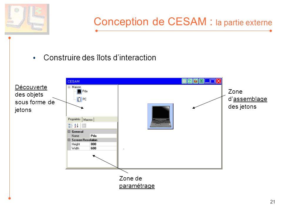 Conception de CESAM : la partie externe Construire des îlots dinteraction Découverte des objets sous forme de jetons Zone dassemblage des jetons Zone