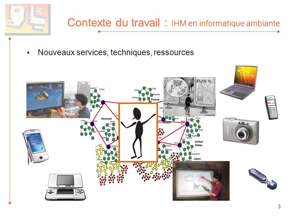 Nouveaux services, techniques, ressources Contexte du travail : IHM en informatique ambiante 3