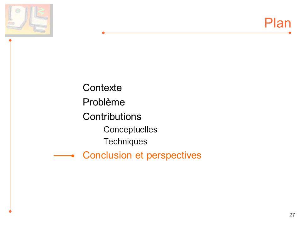 Plan Contexte Problème Contributions Conceptuelles Techniques Conclusion et perspectives 27