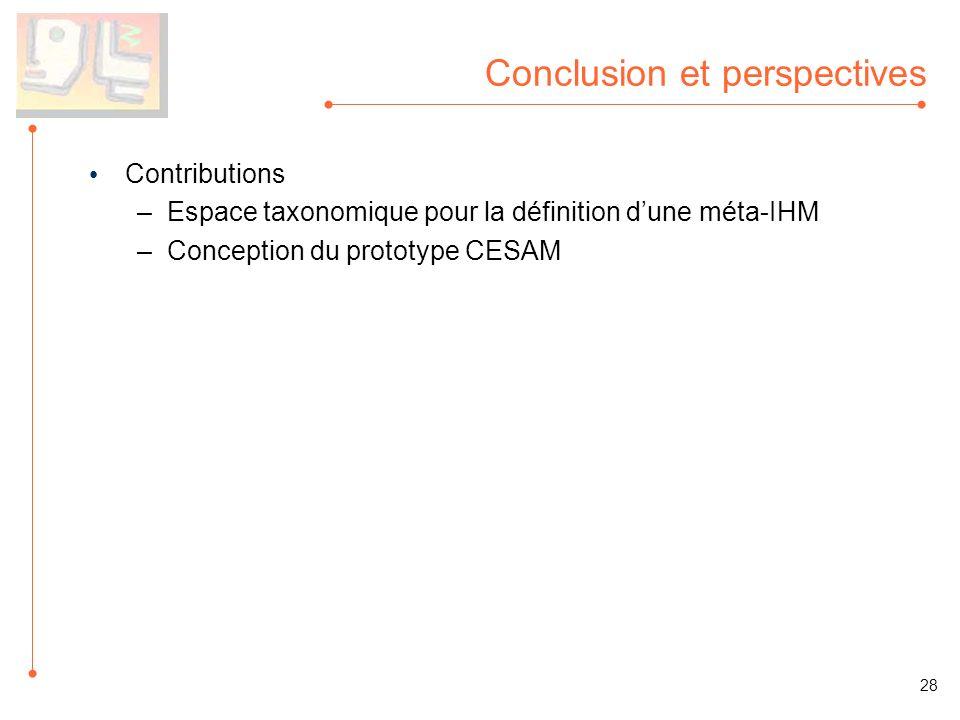Conclusion et perspectives Contributions –Espace taxonomique pour la définition dune méta-IHM –Conception du prototype CESAM 28