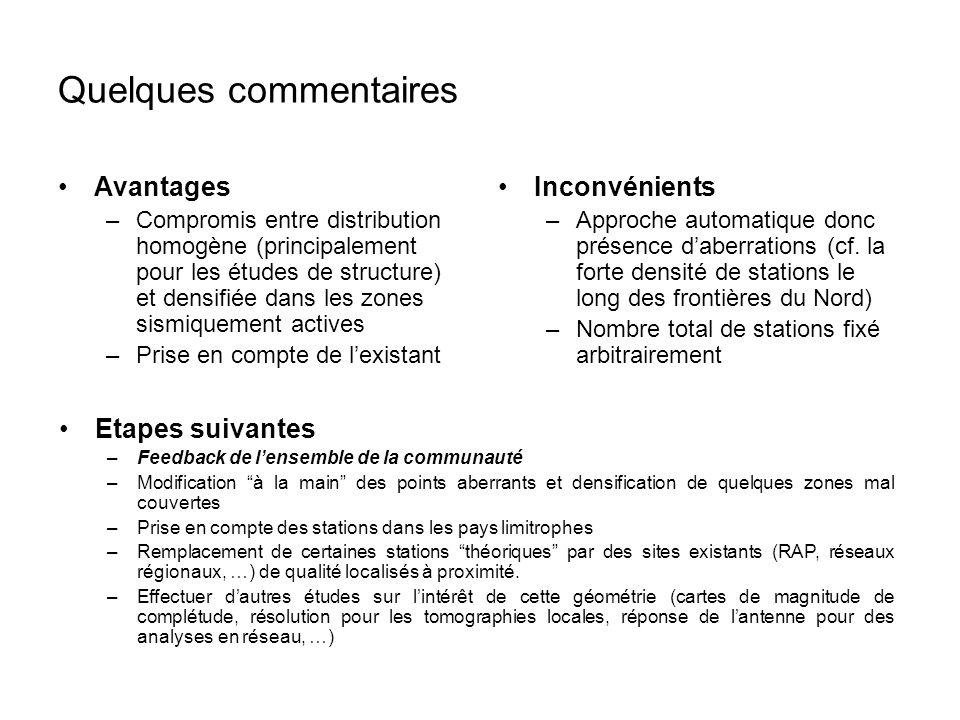 Quelques commentaires Avantages –Compromis entre distribution homogène (principalement pour les études de structure) et densifiée dans les zones sismi