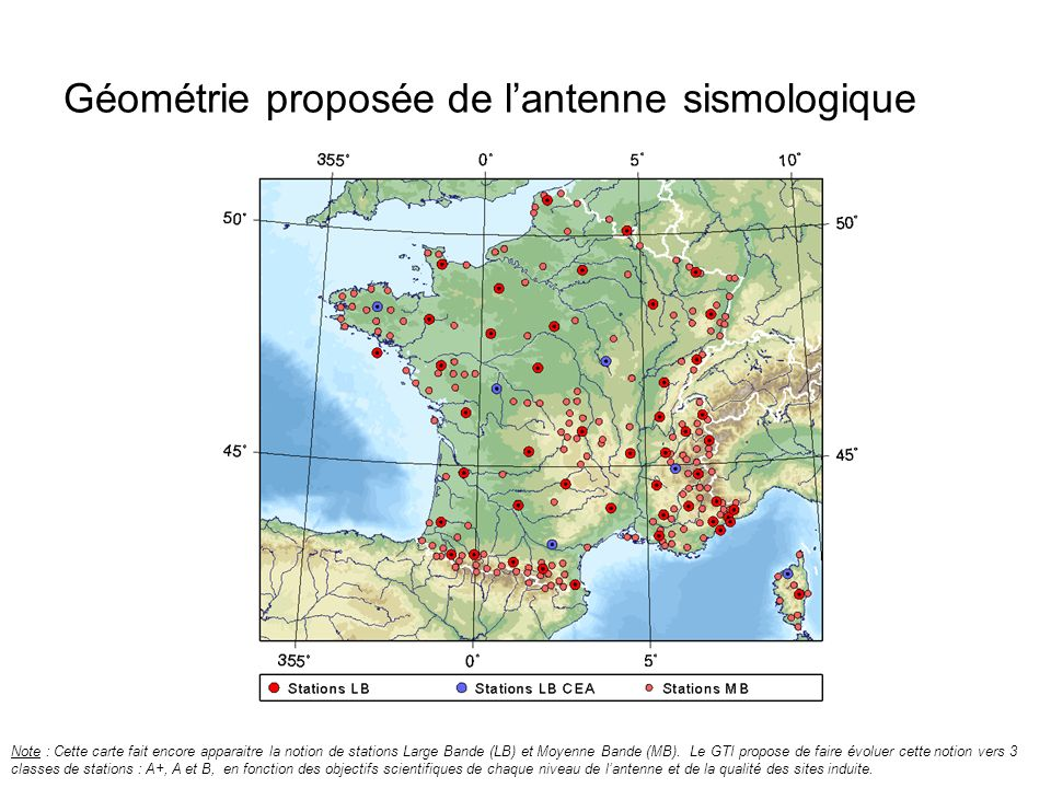 Géométrie proposée de lantenne sismologique Note : Cette carte fait encore apparaitre la notion de stations Large Bande (LB) et Moyenne Bande (MB). Le