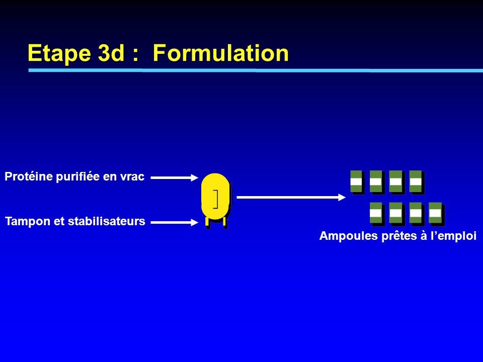 Ampoules prêtes à lemploi Protéine purifiée en vrac Tampon et stabilisateurs Etape 3d : Formulation
