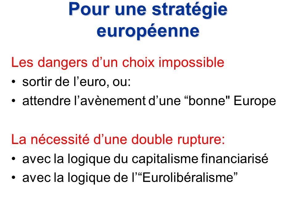 Pour une stratégie européenne Les dangers dun choix impossible sortir de leuro, ou: attendre lavènement dune bonne