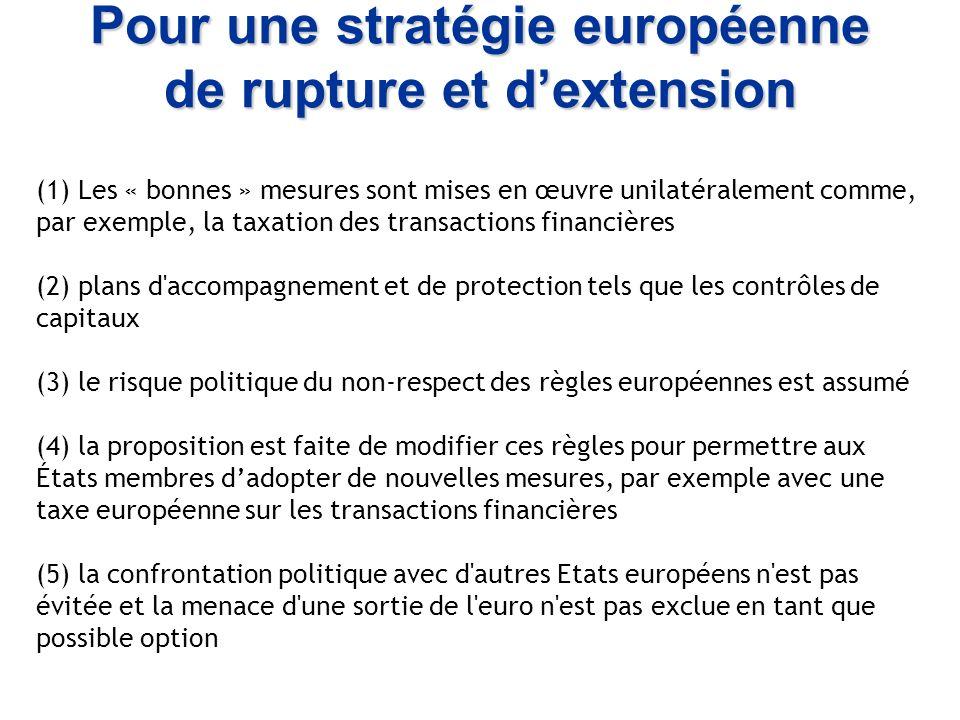 Pour une stratégie européenne de rupture et dextension (1) Les « bonnes » mesures sont mises en œuvre unilatéralement comme, par exemple, la taxation