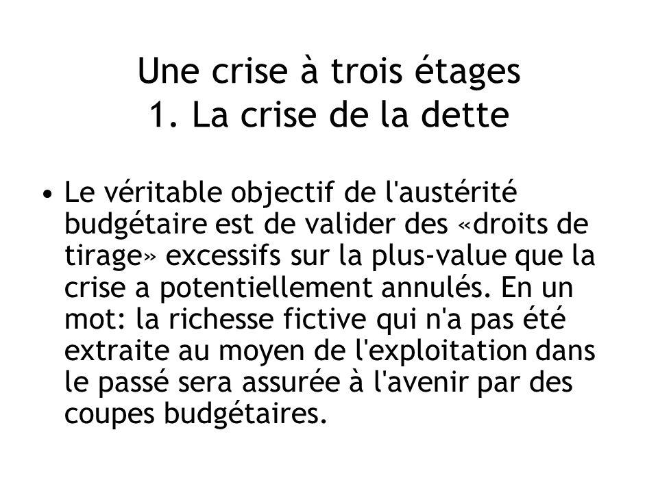 Une crise à trois étages 1. La crise de la dette Le véritable objectif de l'austérité budgétaire est de valider des «droits de tirage» excessifs sur l