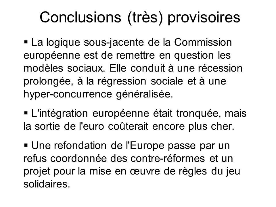 Conclusions (très) provisoires La logique sous-jacente de la Commission européenne est de remettre en question les modèles sociaux. Elle conduit à une