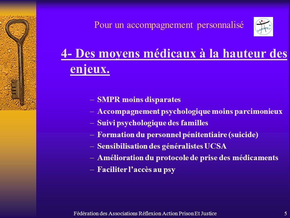 Fédération des Associations Réflexion Action Prison Et Justice5 Pour un accompagnement personnalisé 4- Des moyens médicaux à la hauteur des enjeux. –S