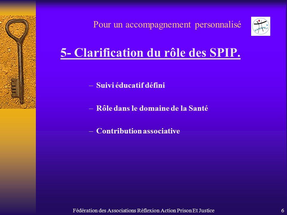 Fédération des Associations Réflexion Action Prison Et Justice6 Pour un accompagnement personnalisé 5- Clarification du rôle des SPIP. –Suivi éducatif