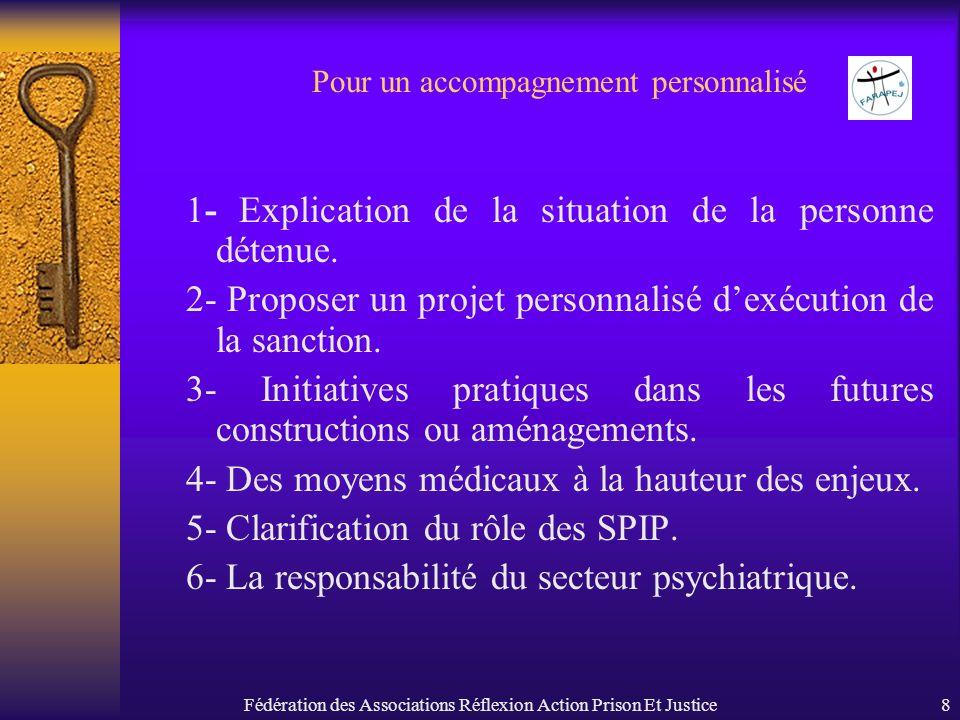 Fédération des Associations Réflexion Action Prison Et Justice8 Pour un accompagnement personnalisé 1- Explication de la situation de la personne déte