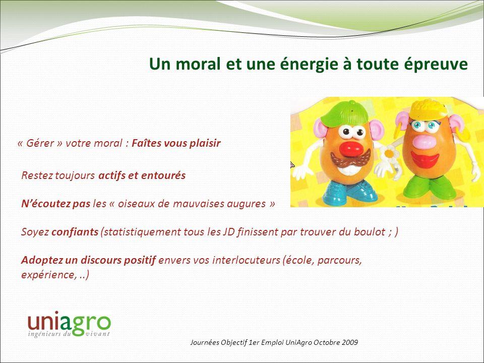 Journées Objectif 1er Emploi UniAgro Octobre 2009 Un moral et une énergie à toute épreuve Restez toujours actifs et entourés Soyez confiants (statisti
