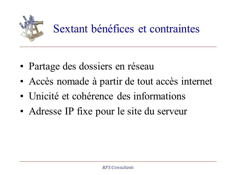 Sextant bénéfices et contraintes Partage des dossiers en réseau Accès nomade à partir de tout accès internet Unicité et cohérence des informations Adr