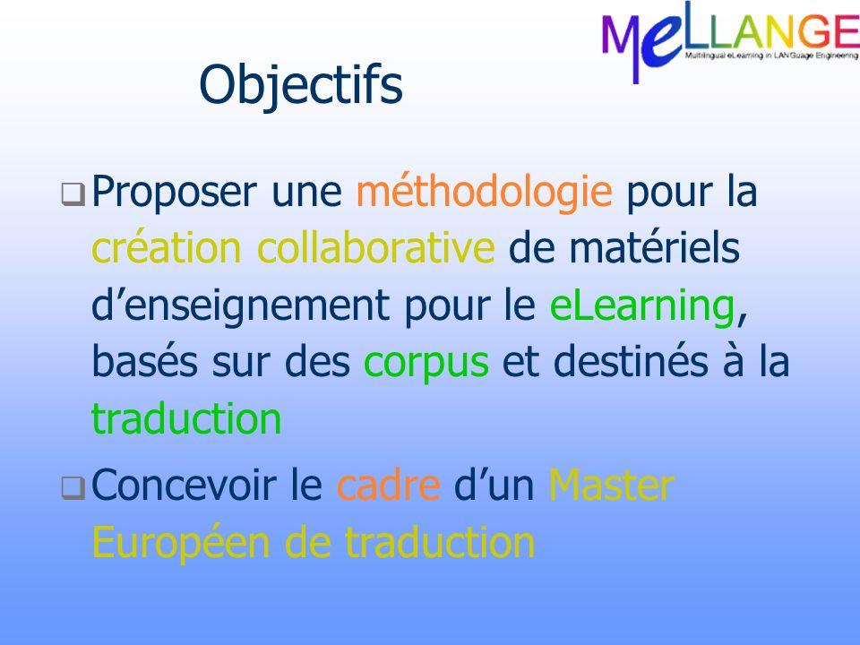 Objectifs Proposer une méthodologie pour la création collaborative de matériels denseignement pour le eLearning, basés sur des corpus et destinés à la