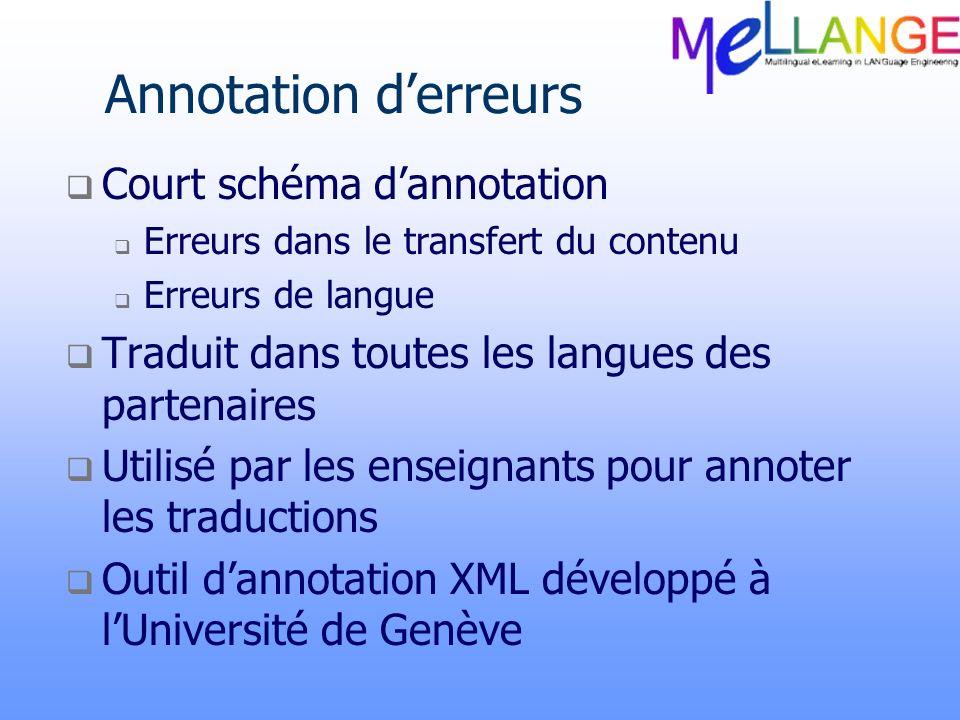Annotation derreurs Court schéma dannotation Erreurs dans le transfert du contenu Erreurs de langue Traduit dans toutes les langues des partenaires Ut