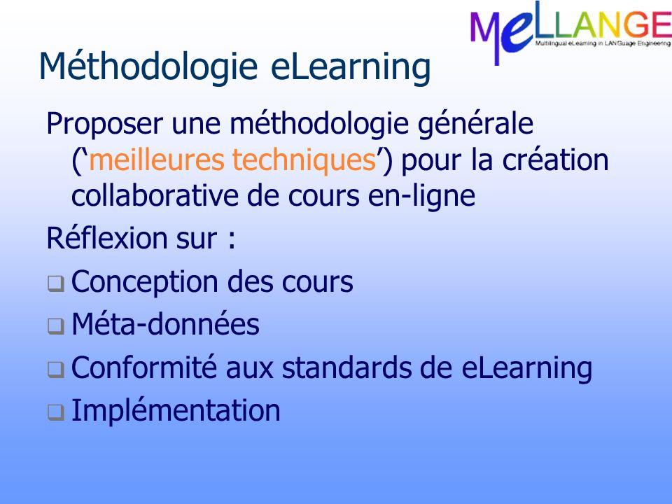 Méthodologie eLearning Proposer une méthodologie générale (meilleures techniques) pour la création collaborative de cours en-ligne Réflexion sur : Con