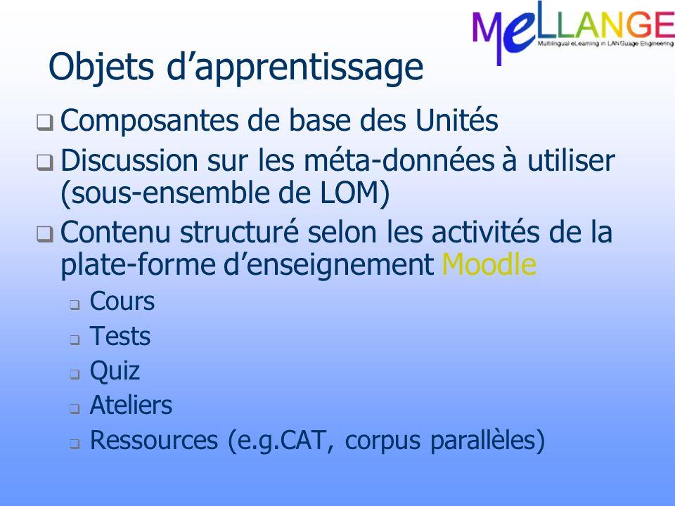 Objets dapprentissage Composantes de base des Unités Discussion sur les méta-données à utiliser (sous-ensemble de LOM) Contenu structuré selon les act