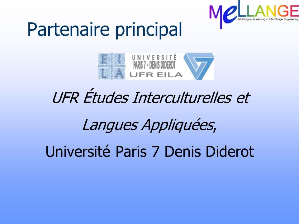 Partenaire principal UFR Études Interculturelles et Langues Appliquées, Université Paris 7 Denis Diderot