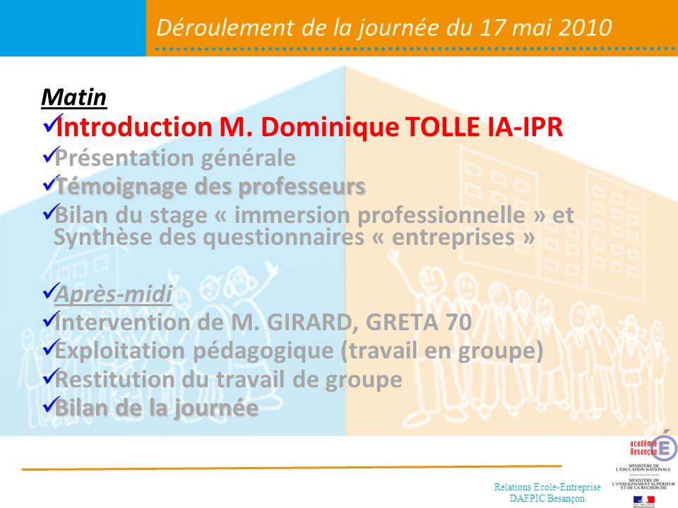 Relations Ecole-Entreprise DAFPIC Besançon Déroulement de la journée Matin Introduction M.