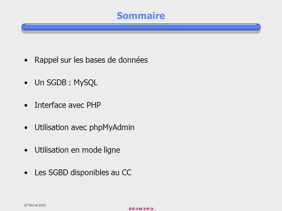 23 février 2003 Présentation Loutil phpMyAdmin est développé en PHP et offre une interface intuitive pour ladministration des base de données du serveur.