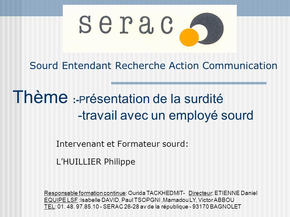 Sourd Entendant Recherche Action Communication Intervenant et Formateur sourd: LHUILLIER Philippe Responsable formation continue: Ourida TACKHEDMIT- D