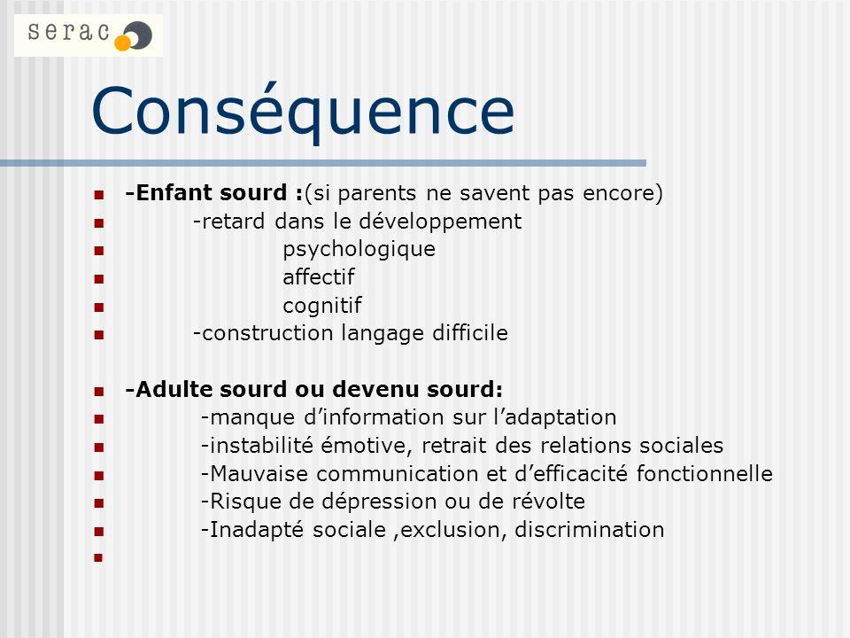 Conséquence -Enfant sourd :(si parents ne savent pas encore) -retard dans le développement psychologique affectif cognitif -construction langage diffi