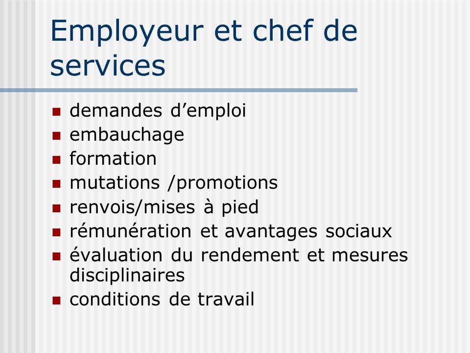Employeur et chef de services demandes demploi embauchage formation mutations /promotions renvois/mises à pied rémunération et avantages sociaux évalu