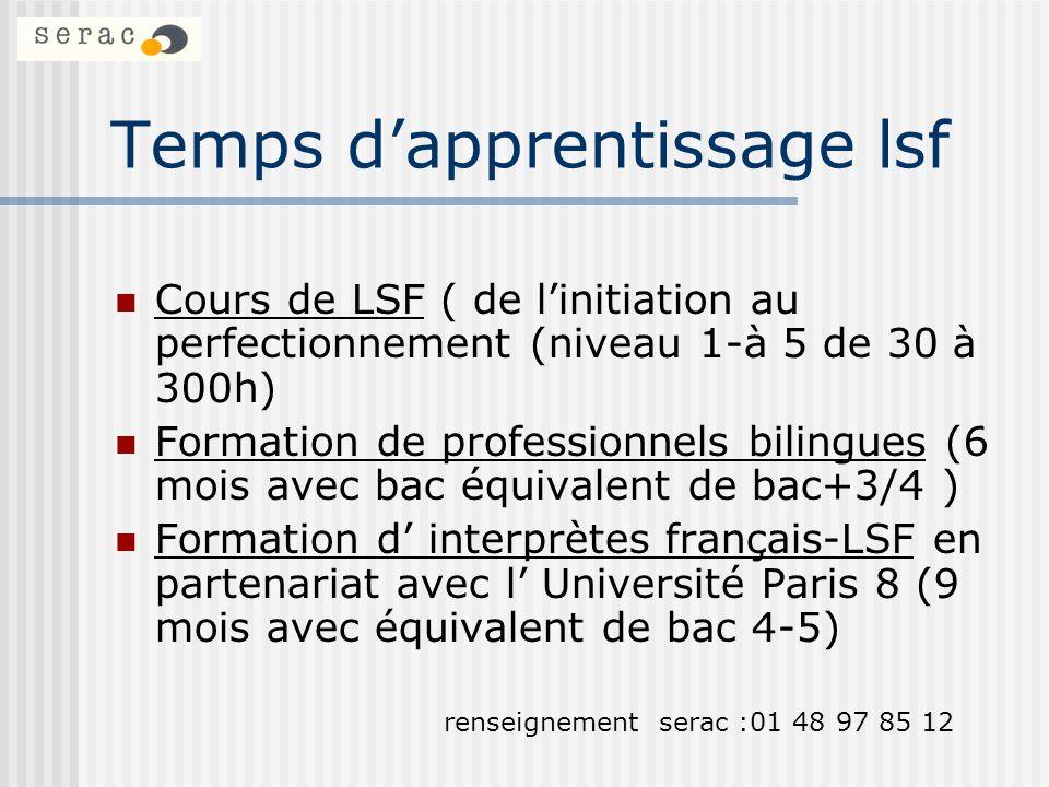 Temps dapprentissage lsf Cours de LSF ( de linitiation au perfectionnement (niveau 1-à 5 de 30 à 300h) Formation de professionnels bilingues (6 mois a