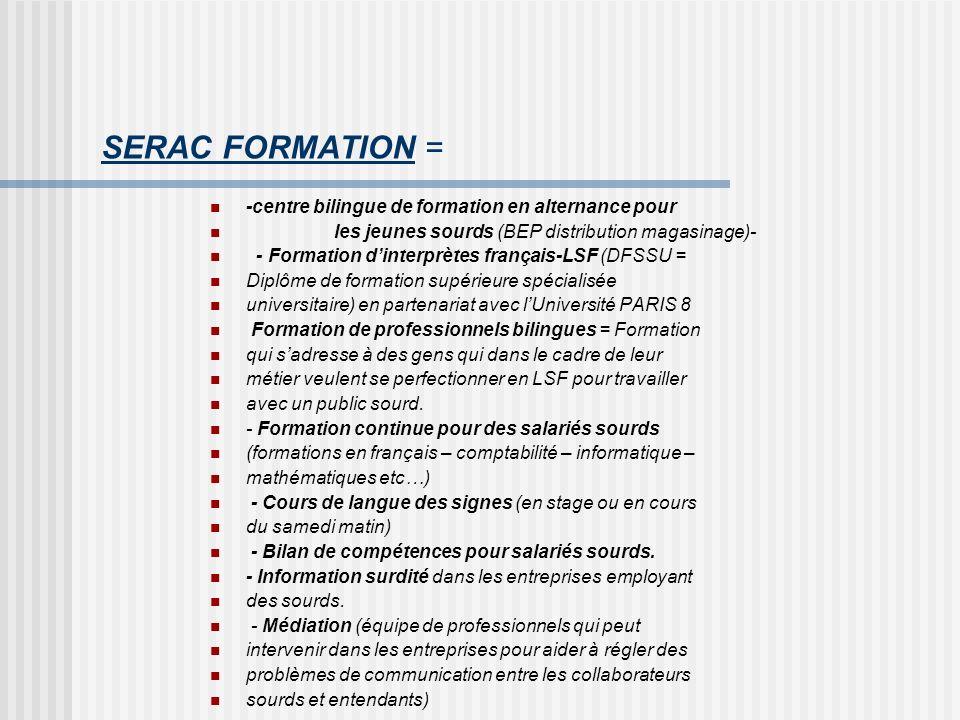 SERAC FORMATION = -centre bilingue de formation en alternance pour les jeunes sourds (BEP distribution magasinage)- - Formation dinterprètes français-