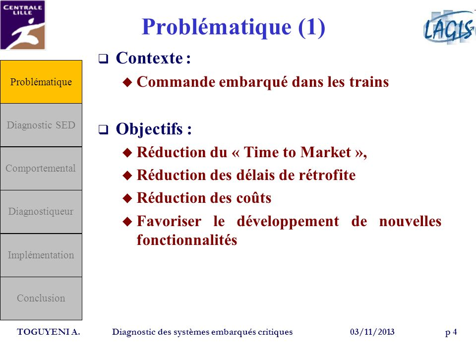 Problématique (1) Contexte : Commande embarqué dans les trains Objectifs : Réduction du « Time to Market », Réduction des délais de rétrofite Réductio