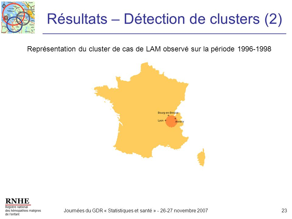 Journées du GDR « Statistiques et santé » - 26-27 novembre 200723 Résultats – Détection de clusters (2) Représentation du cluster de cas de LAM observ