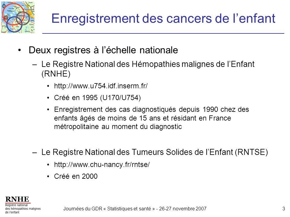 Journées du GDR « Statistiques et santé » - 26-27 novembre 20073 Enregistrement des cancers de lenfant Deux registres à léchelle nationale –Le Registr