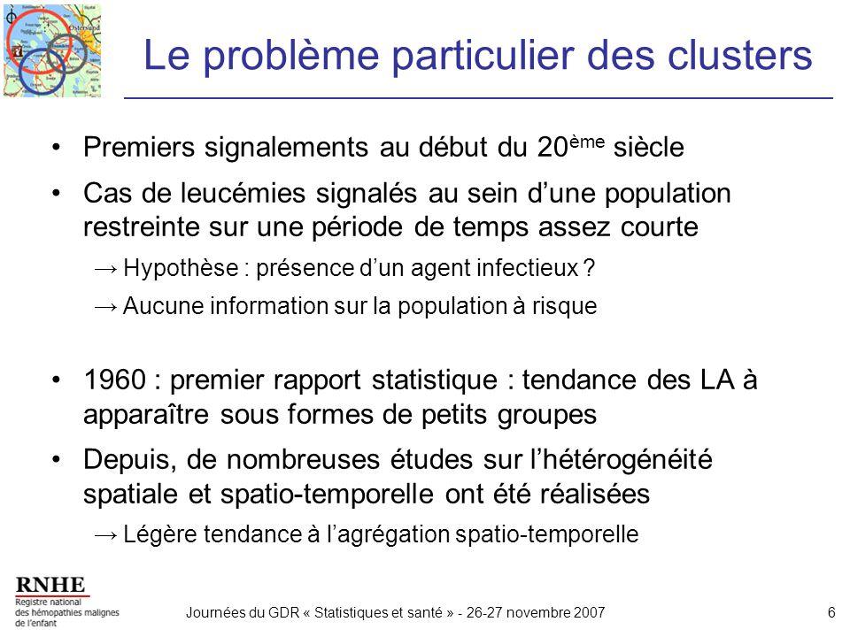 Journées du GDR « Statistiques et santé » - 26-27 novembre 20077 Objectif de létude Étude des variations spatiales et spatio-temporelles des LA de lenfant en France, sur la période 1990-2003 Deux approches : –«clustering » : recherche dune hétérogénéité globale Hétérogénéité spatiale globale (tests de Potthoff-Whittinghill et de Rogerson) Interaction spatio-temporelle (test de Knox) –« détection de cluster » : localisation dune zone/période à plus fort risque de LA