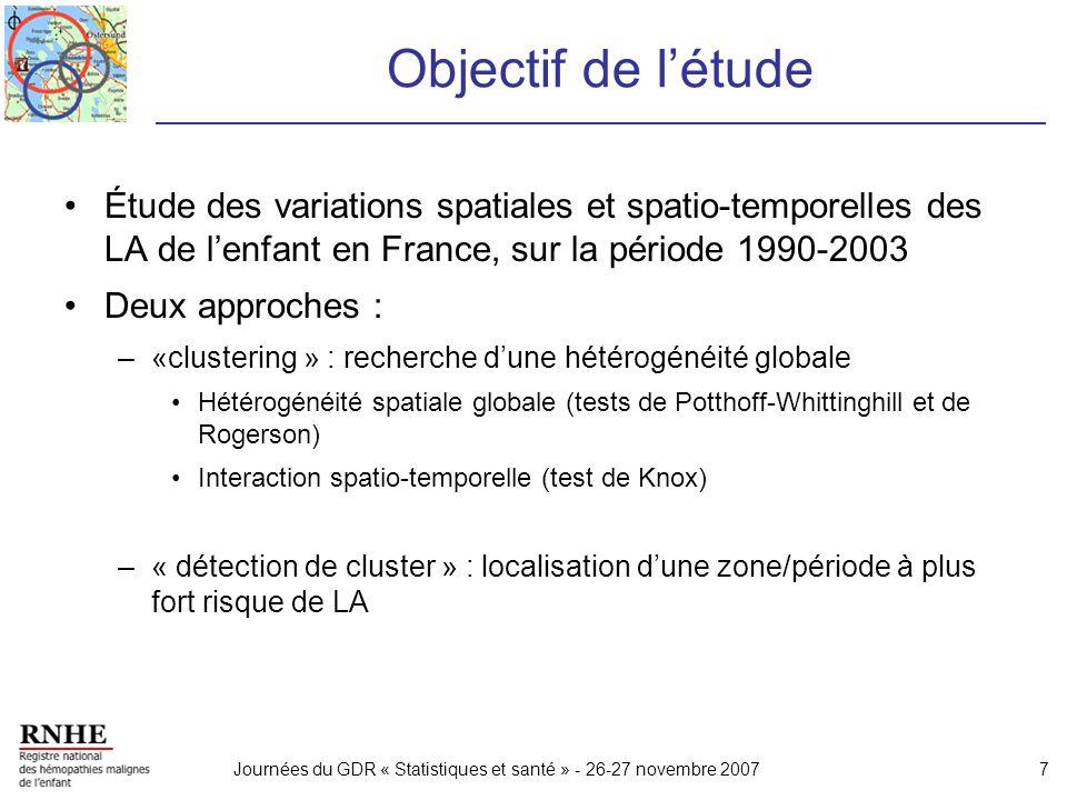 Journées du GDR « Statistiques et santé » - 26-27 novembre 20077 Objectif de létude Étude des variations spatiales et spatio-temporelles des LA de len