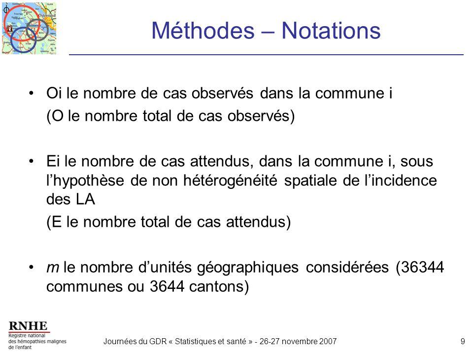 Journées du GDR « Statistiques et santé » - 26-27 novembre 20079 Méthodes – Notations Oi le nombre de cas observés dans la commune i (O le nombre tota
