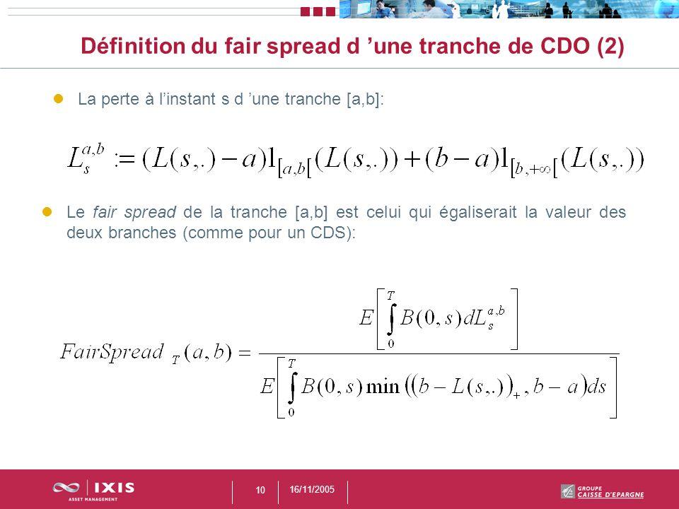 16/11/2005 10 Définition du fair spread d une tranche de CDO (2) La perte à linstant s d une tranche [a,b]: Le fair spread de la tranche [a,b] est cel
