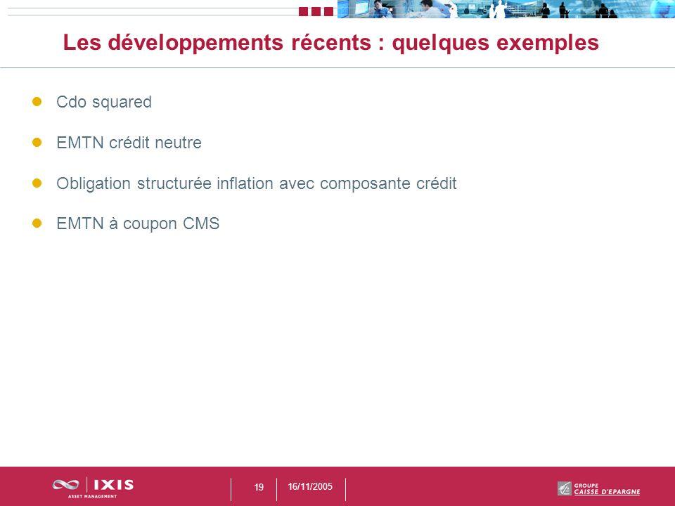 16/11/2005 19 Les développements récents : quelques exemples Cdo squared EMTN crédit neutre Obligation structurée inflation avec composante crédit EMT