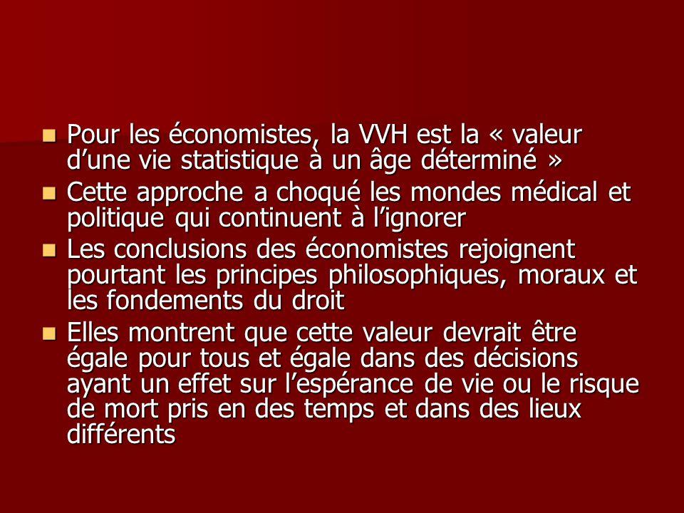 Pour les économistes, la VVH est la « valeur dune vie statistique à un âge déterminé » Pour les économistes, la VVH est la « valeur dune vie statistiq