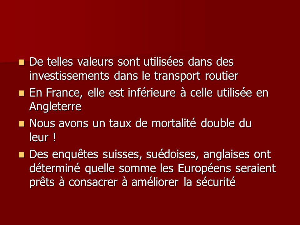 De telles valeurs sont utilisées dans des investissements dans le transport routier De telles valeurs sont utilisées dans des investissements dans le