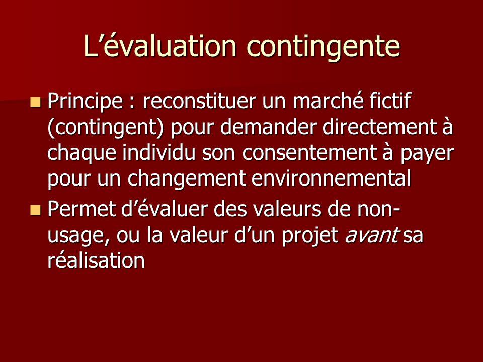 Lévaluation contingente Principe : reconstituer un marché fictif (contingent) pour demander directement à chaque individu son consentement à payer pou