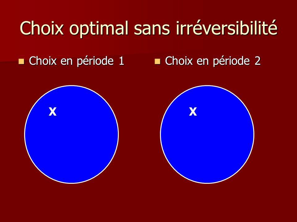 Choix optimal sans irréversibilité Choix en période 1 Choix en période 1 Choix en période 2 Choix en période 2 XX