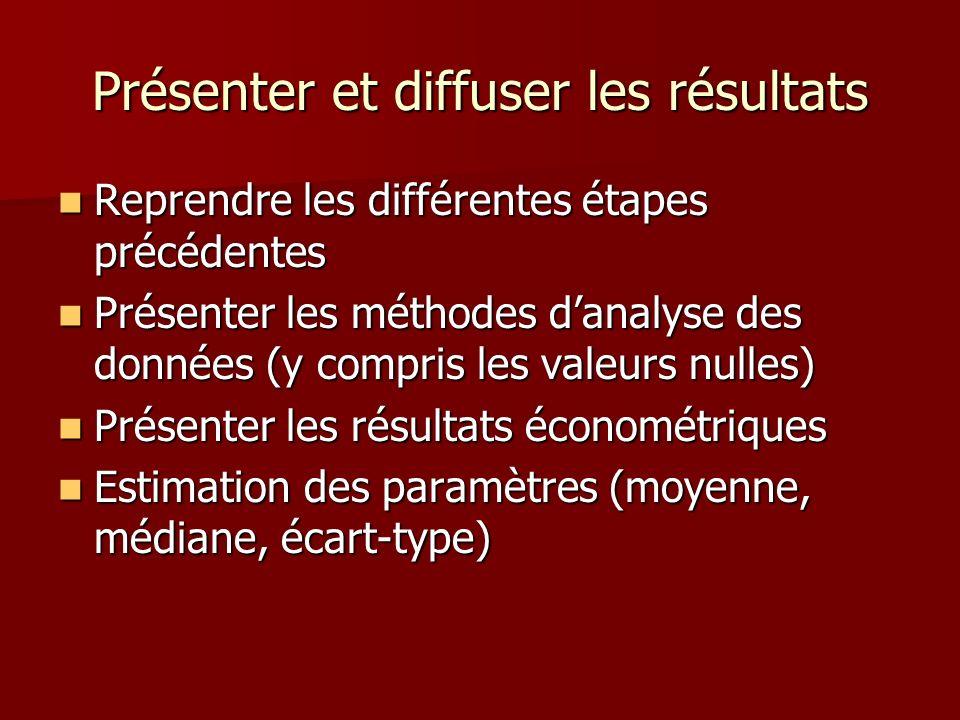 Présenter et diffuser les résultats Reprendre les différentes étapes précédentes Reprendre les différentes étapes précédentes Présenter les méthodes d