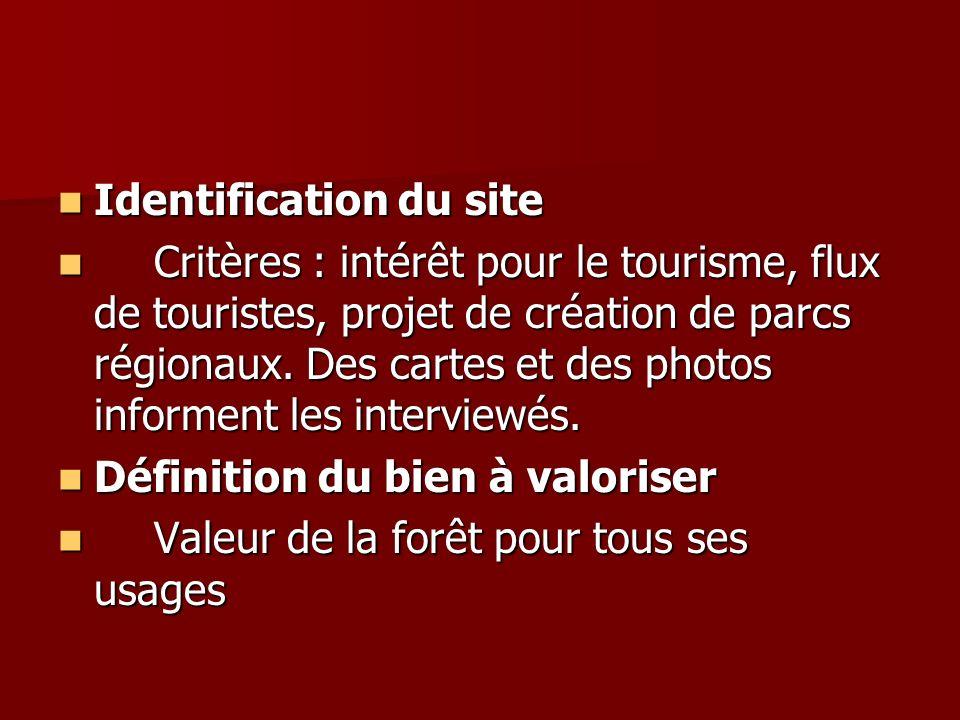 Identification du site Identification du site Critères : intérêt pour le tourisme, flux de touristes, projet de création de parcs régionaux. Des carte